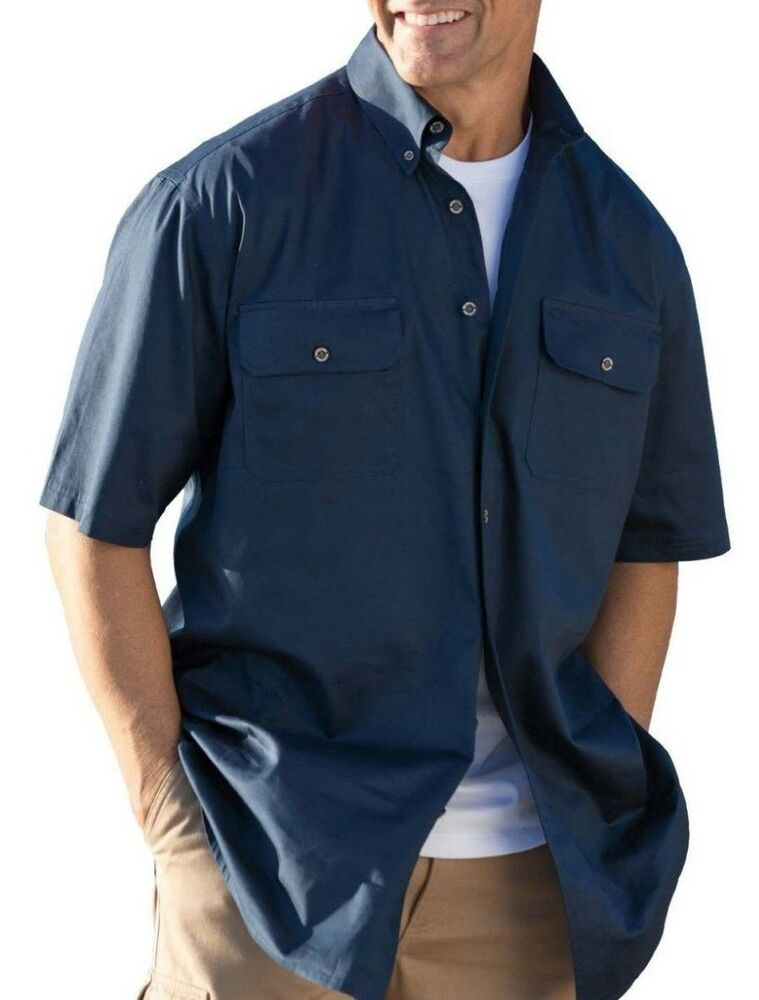 Boulder creek big tall mens short sleeve blue casual for Tall mens dress shirts