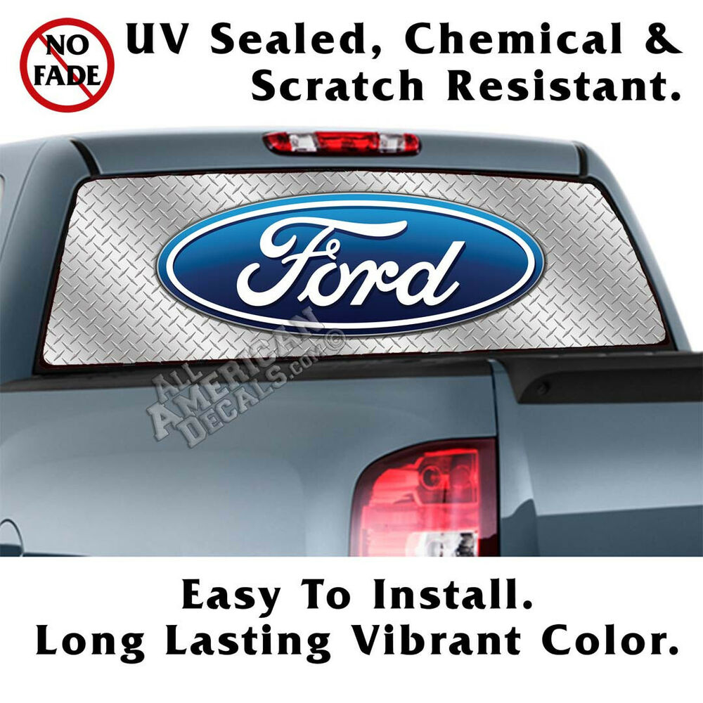 Details about ford diamond plate back window graphic perforated film decal truck suv