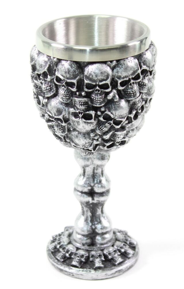 Http Www Ebay Com Itm Silver Skulls Bones Wine Goblet Stainless Medieval Collectible Home Decor Gift 252322600314