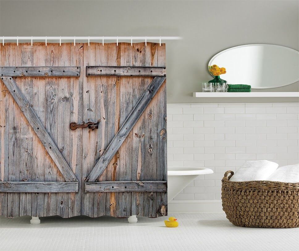 Distressed rustic wooden barn door graphic shower curtain