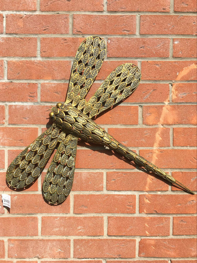 Wall hanging dragonfly garden wall art garden ornament for Outdoor hanging ornaments