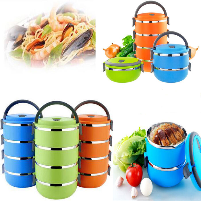 portable stainless steel bento lunch box food storage container school office ebay. Black Bedroom Furniture Sets. Home Design Ideas