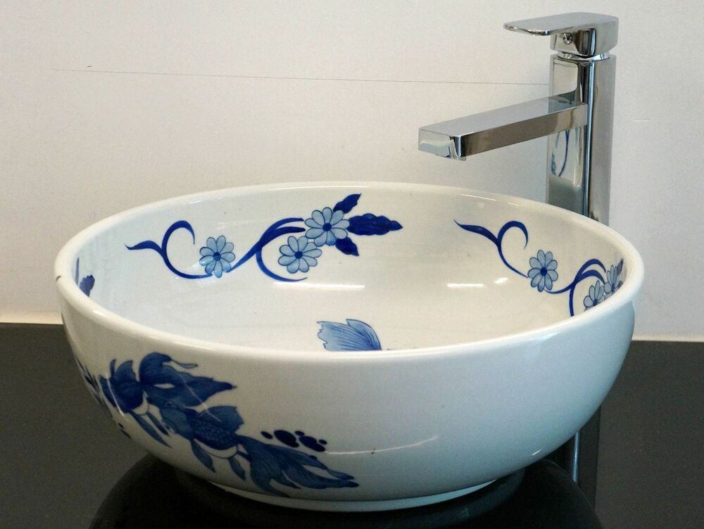 bowl sinks for bathrooms goldfish pattern bathroom cloakroom ceramic counter top 17495
