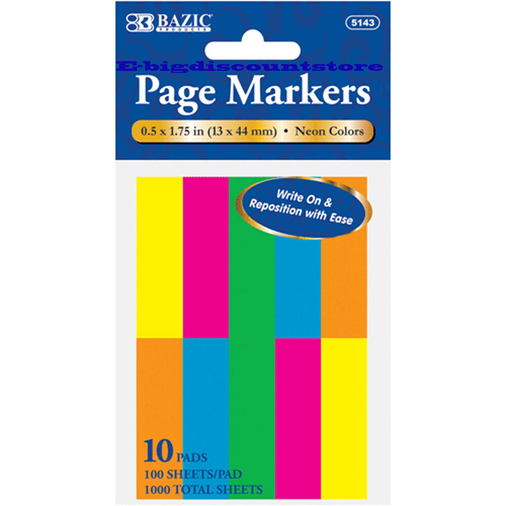 1000 Sheets Neon Color Page Markers Sticky Notes Bookmark