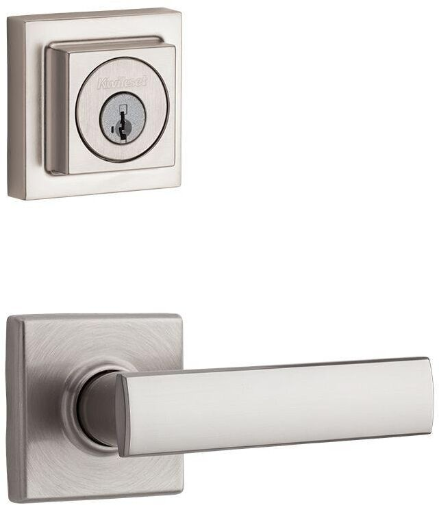 SmartKey Nickel Exterior Keyed Entry Door Knob Lever Key Deadbolt Lock Combo