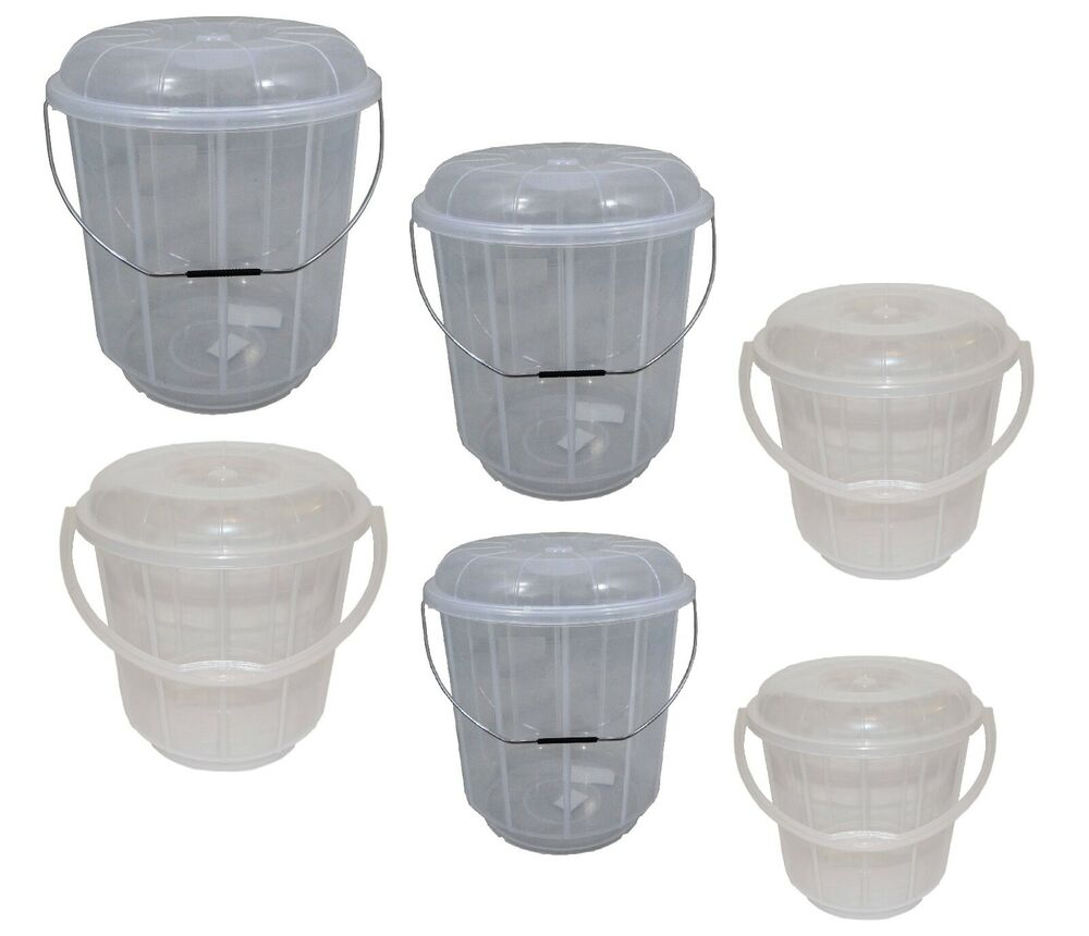 Large Small Clear Plastic Bucket With Lid Carry Handle