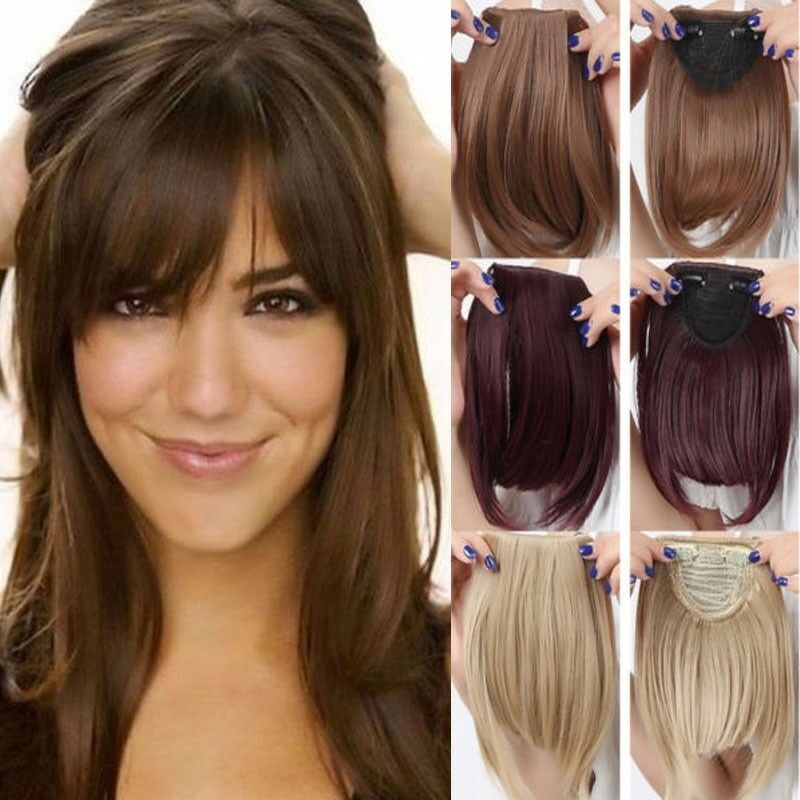 Straight Front Bangs Fringe Piece Clip In Hair Extensions
