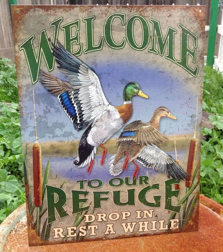 WELCOME TO OUR REFUGE DUCKS Tin Sign Wall Bar Garage Decor