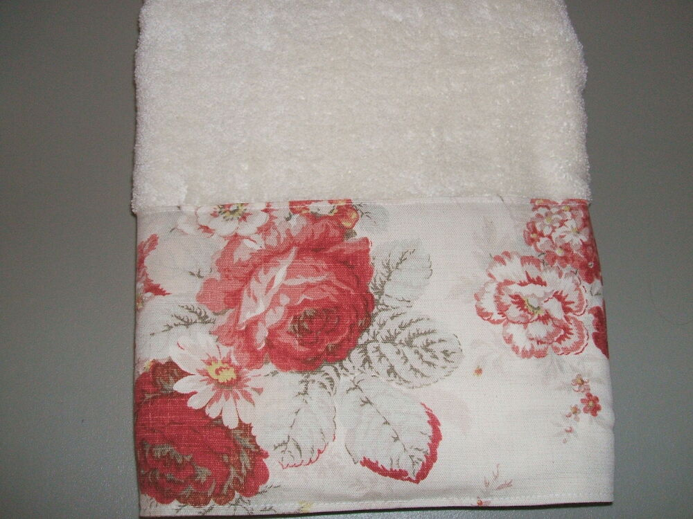 Bath towels waverly norfolk red cream cabbage roses for Toile shabby chic