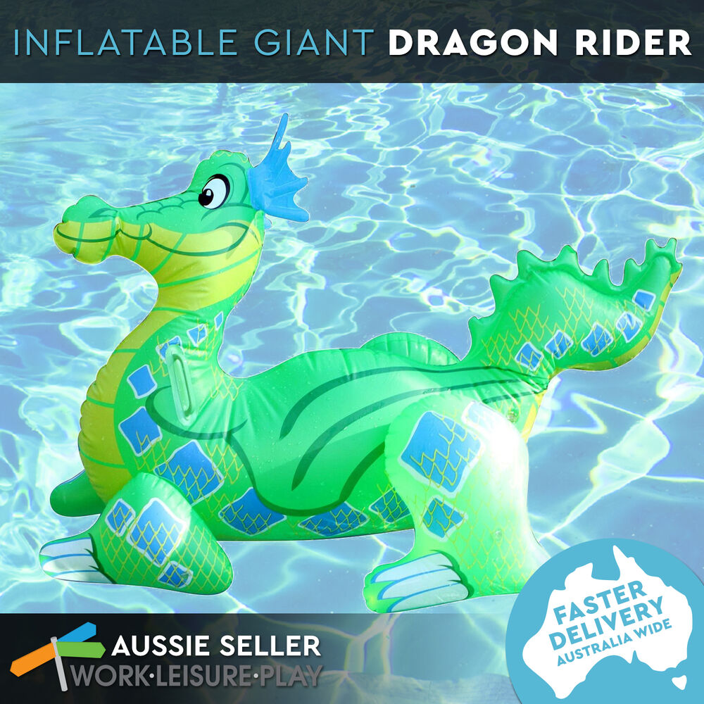 Giant Inflatable Dragon Blow Up Pool Toy Float Ride On