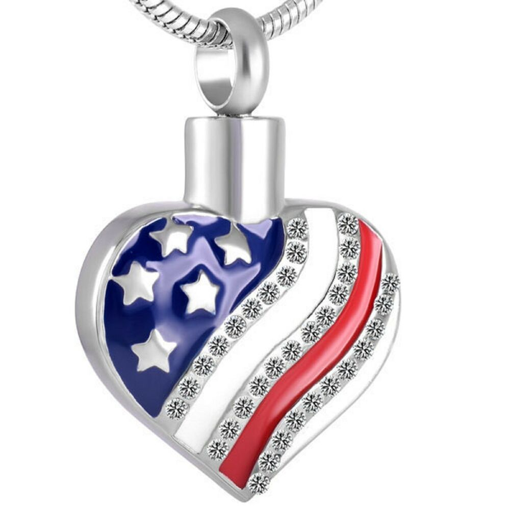 stainless steel american heart cremation pendant urn