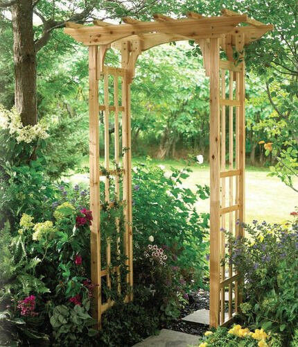 Premium suncast cedar arbor new wooden arch trellis wood for Timber garden arch designs