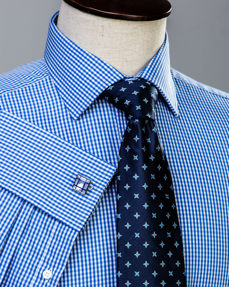 Classic blue gingham check formal business dress shirt for Blue check dress shirt