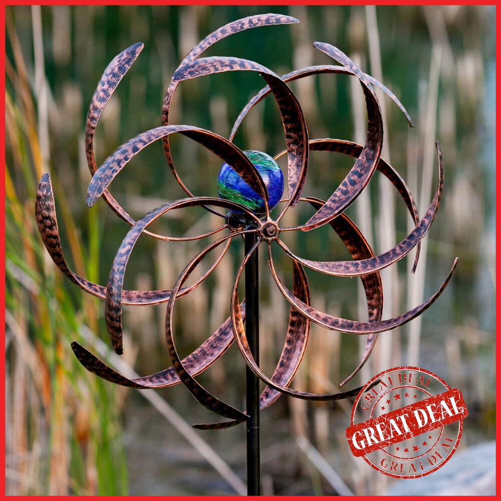 Lighted wind spinner garden yard decor kinetic windmill for Outdoor wind spinners