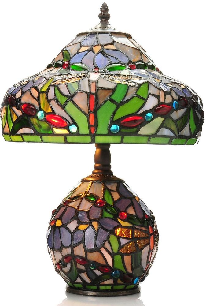 Tiffany style table lamp stained glass shade double lit light base home decor ebay Home decorators lamp shades