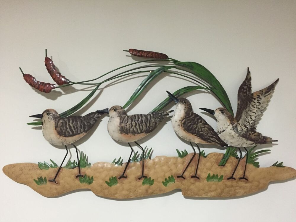Sandpiper beach coastal nautical metal wall decor lake for Bird wall art