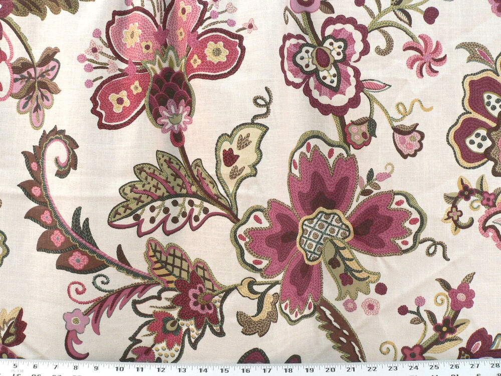 Drapery upholstery fabric crewel embroidered linen blend
