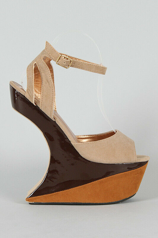 Blue Brown Tan Nude Colorblock Ankle Strap Heel Less