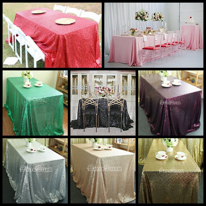 "50""x80"" Wedding Rectangle Sequin Table Cloth Overlay Cover ..."