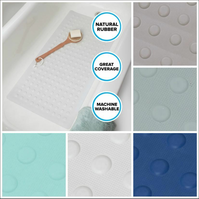 Extra long rubber bath safety mat white blue or tan in for Extra long soaking tub