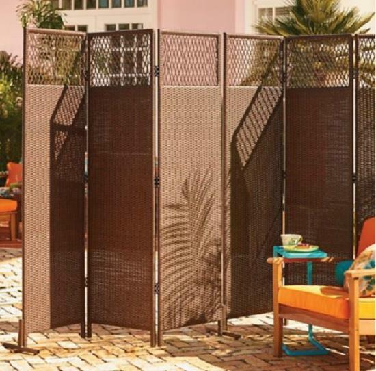 Outdoor brown resin wicker 3 panel privacy screen room for Patio dividers for privacy
