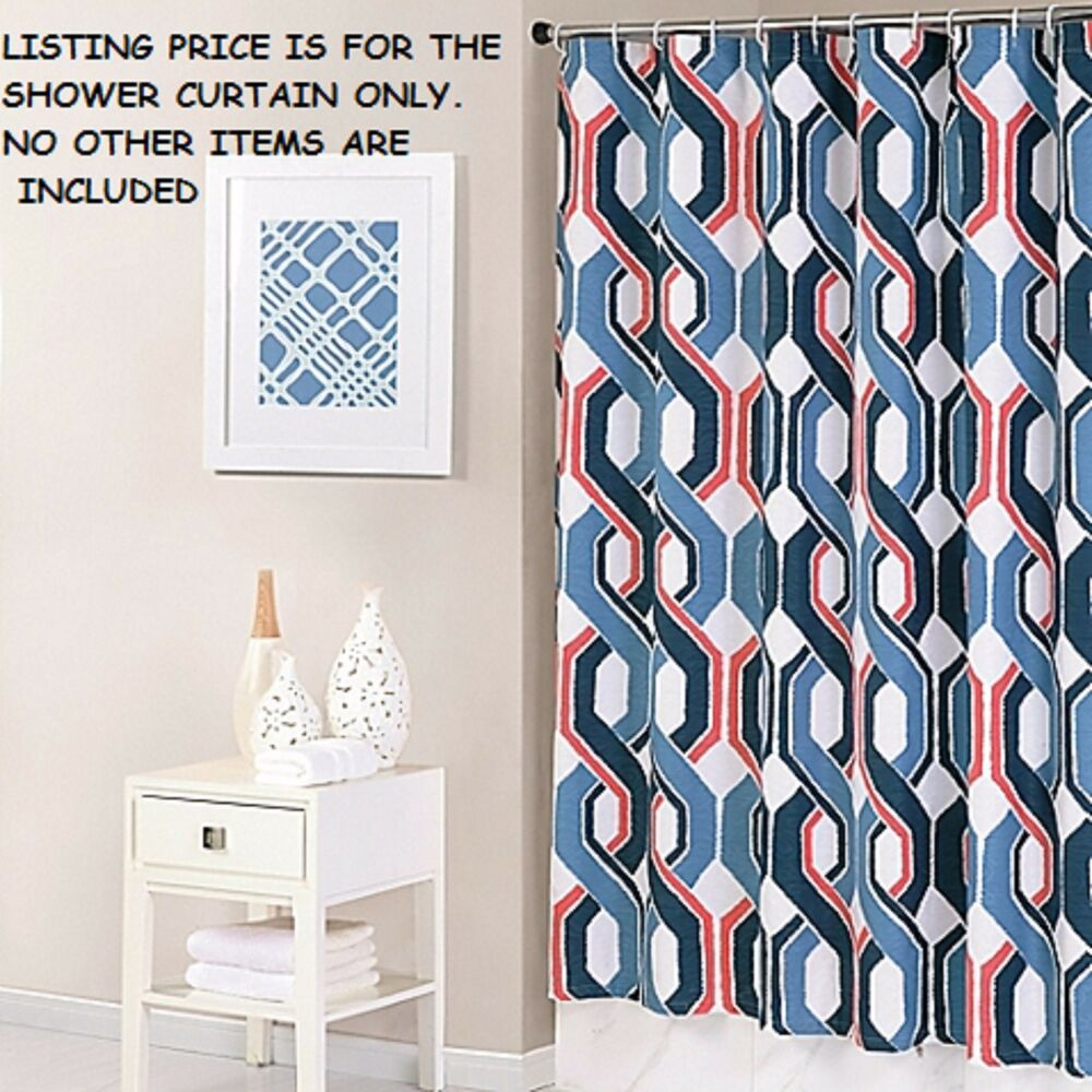 NIP TRINA TURK COASTLINE IKAT FABRIC SHOWER CURTAIN NAVY
