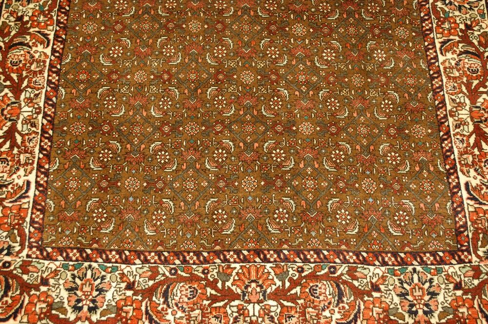 C1930s Antique Detailed Fine Camel Hair Wool Persian Bijar