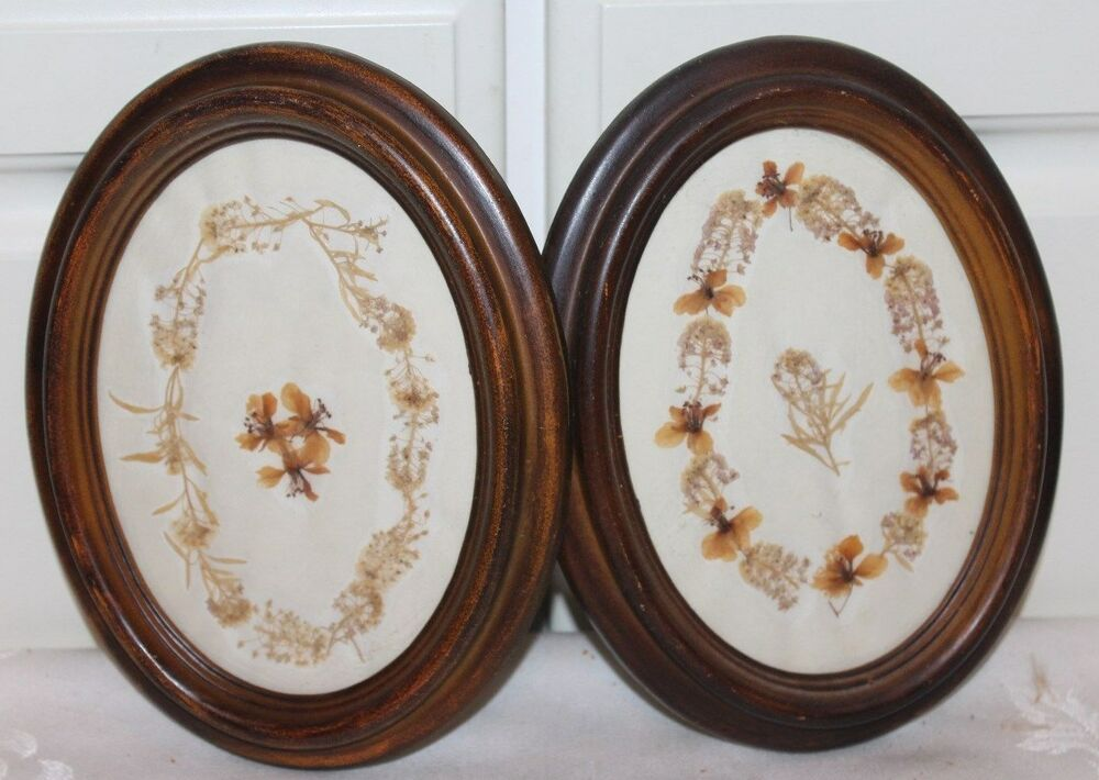 2 Vintage Oval Wood Picture Frame W Dried Flowers Ebay