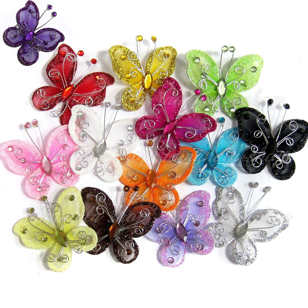 10pcs organza wire rhinestone butterfly embellishments for Rhinestone jewels for crafts