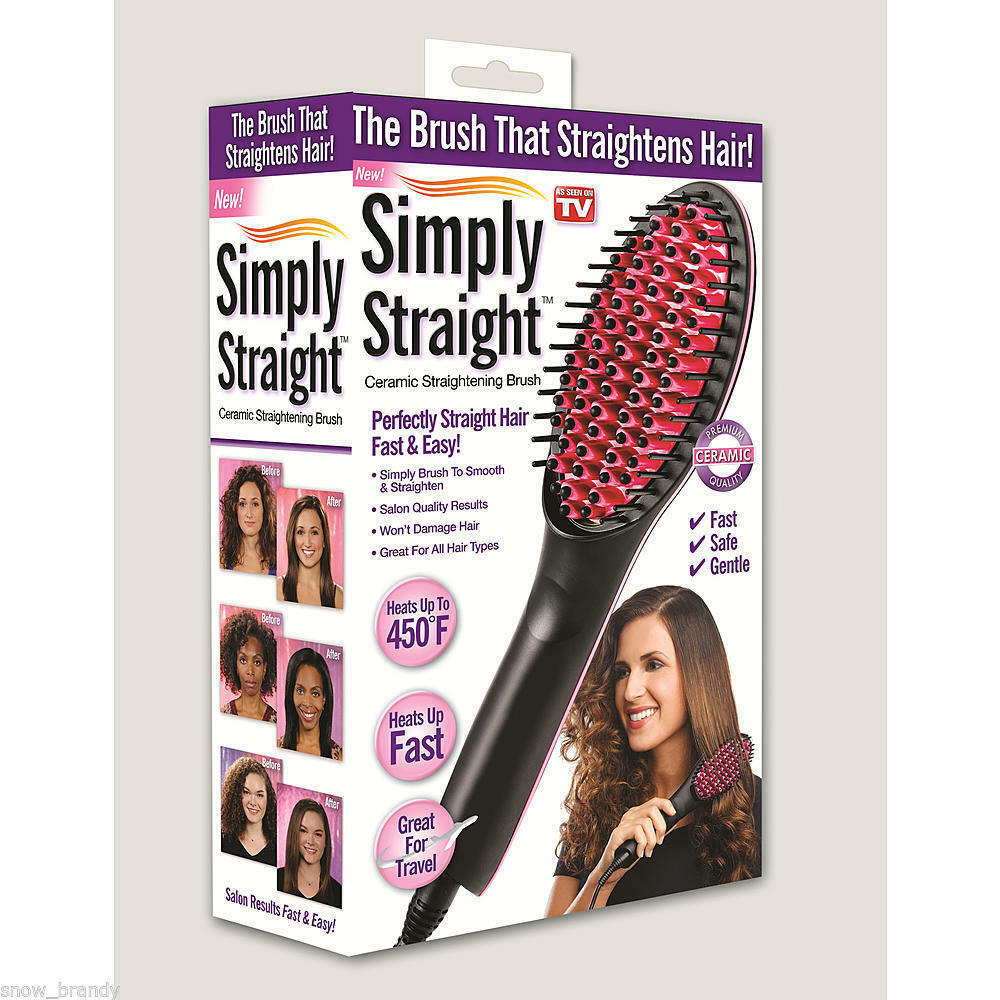 Simply Straight Ceramic Hair Straightener Brush As Seen On