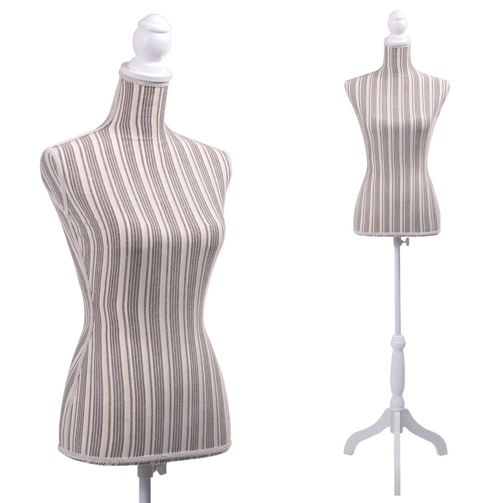 Female Mannequin Torso Clothing Display Stripe Tripod ...