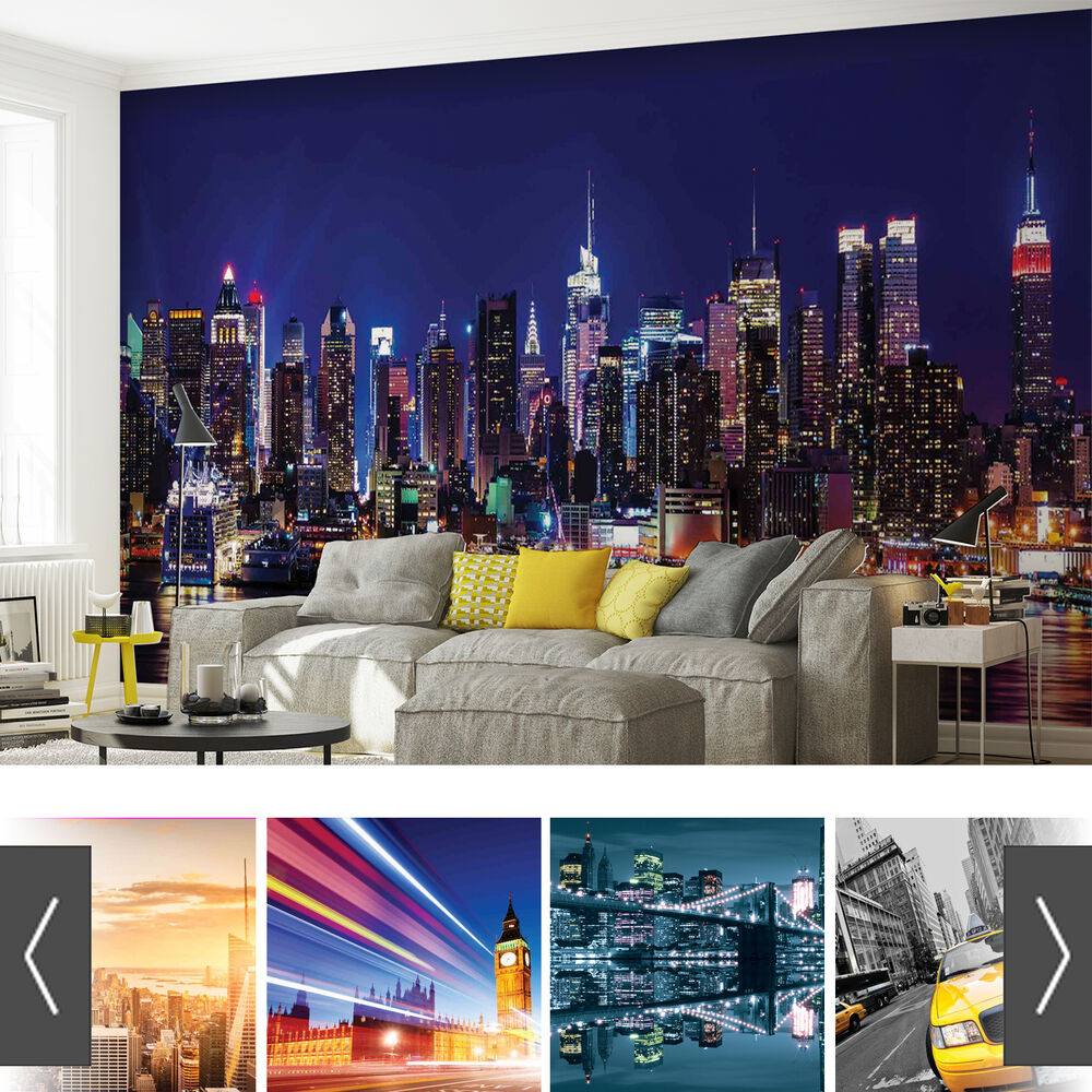 City urban ebay for Cityscape murals photo wall mural