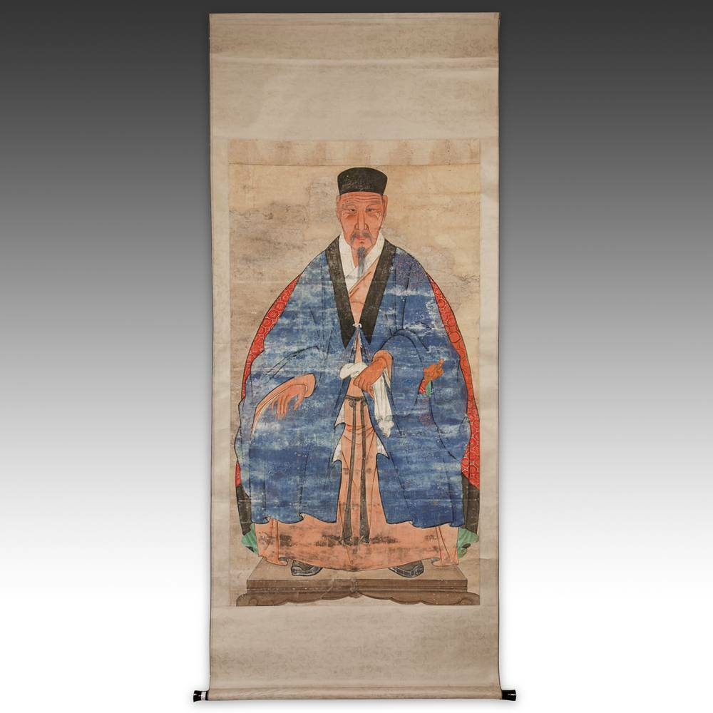 Antique Calligraphy: ANTIQUE CHINESE ANCESTOR PORTRAIT SCROLL PAINTED SILK