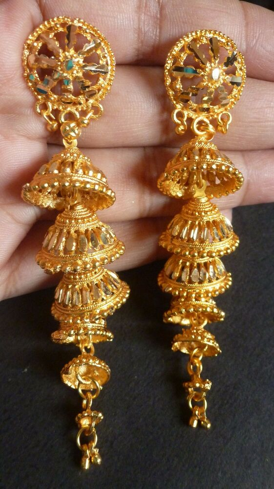 Gold Plated 5 Steps 3 Long Indian Bridal Jhumka Earrings