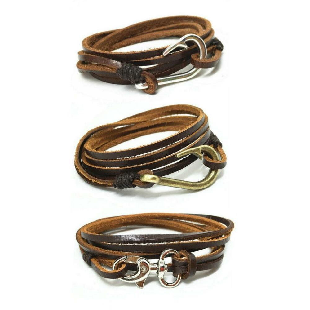 Leather Wrap Charm Bracelet: LEATHER WRAP AROUND BRACELET Fish Hook Or Clasp Fastener