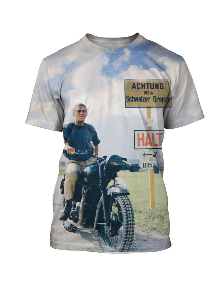 steve mcqueen the great escape t shirt short sleeve crew neck fitted s to 2xl ebay. Black Bedroom Furniture Sets. Home Design Ideas