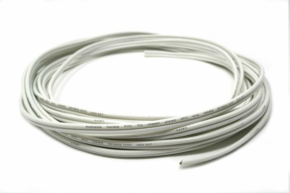2 Conductor 25 Ft 16 Gauge White Marine Wire Speaker Cable 100 Tinned Copper