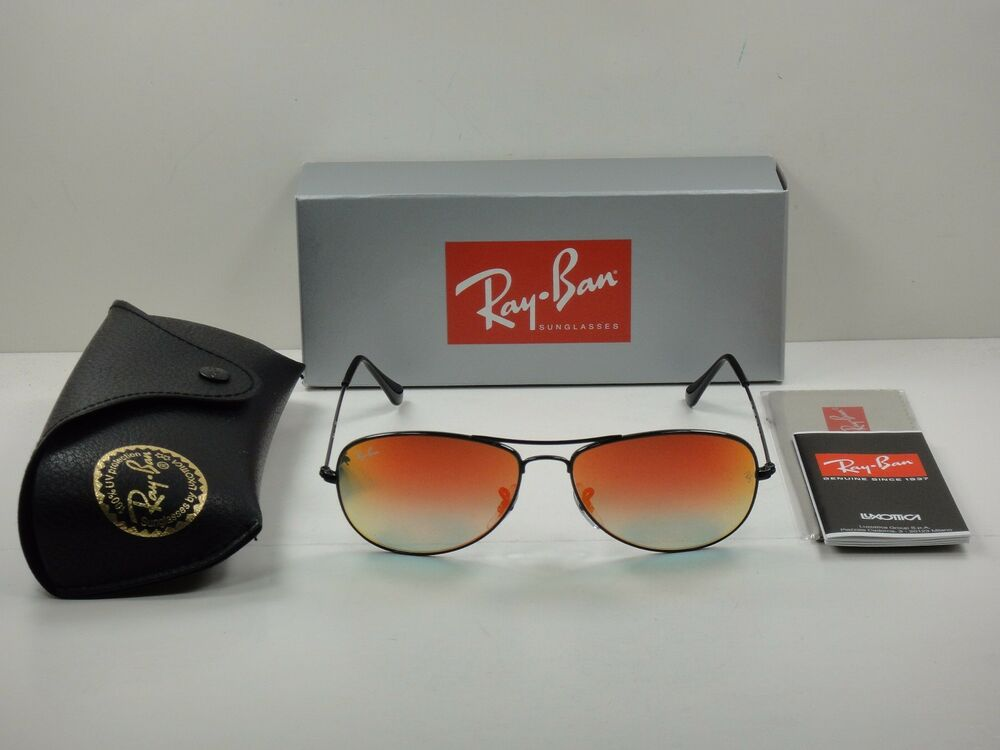 a3609e244b Details about RAY-BAN COCKPIT SUNGLASSES RB3362 002 4W BLACK FRAME ORANGE  FLASH LENS 59MM