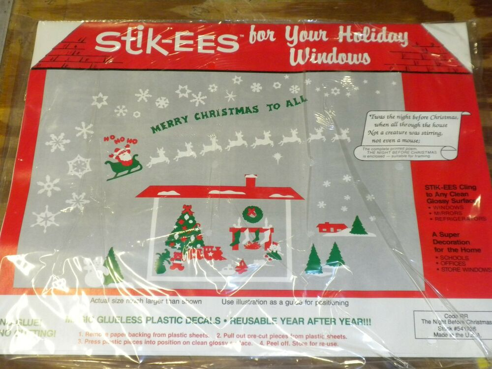 christmas decoration cling night before fireplace w poem windows more new 714757756669 ebay - Night Before Christmas Decorations