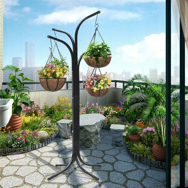 Plant stand hanging garden flower pot basket balcony deck - Hanging baskets for balcony ...