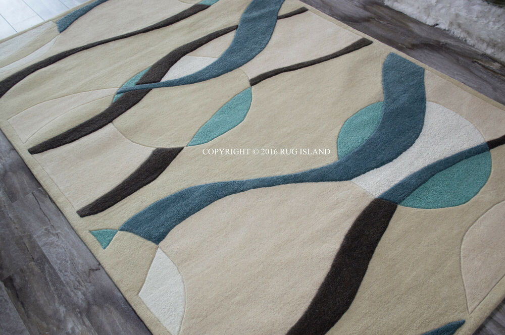 5x8 modern contemporary abstract waves wool blue teal area for Contemporary wool area rugs