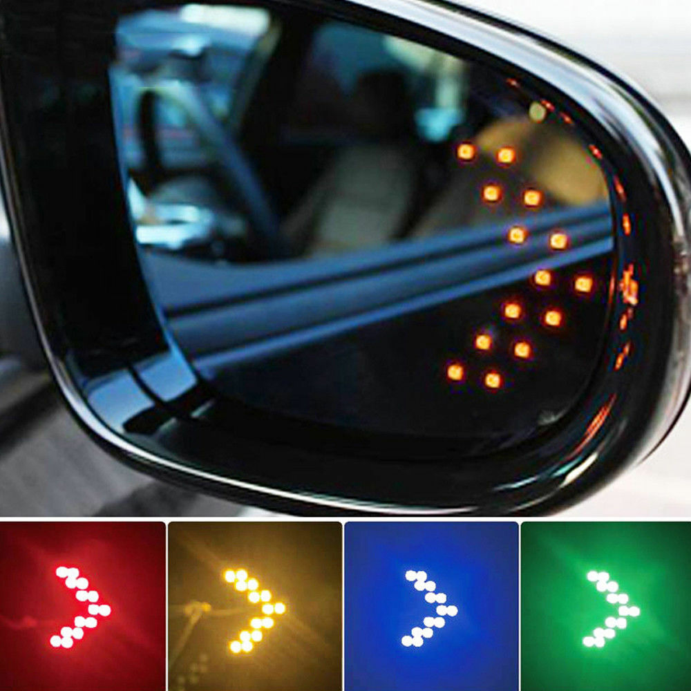2x Car Suv Auto Side Rear View Mirror Yellow 14 Smd Led