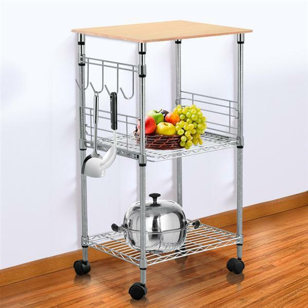 Chrome 3 Tier Wire Rolling Kitchen Cart Utility Food Service Microwave Stand Us Ebay