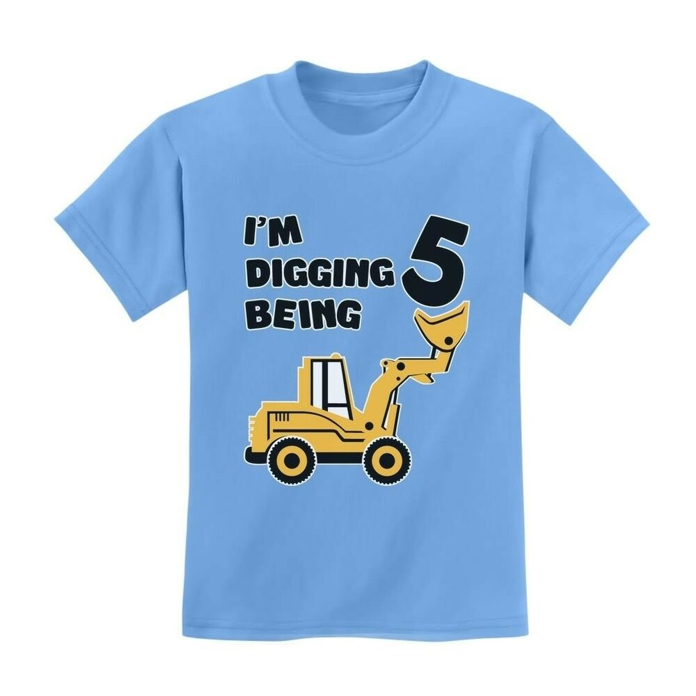 Details About 5th Birthday Bulldozer Construction Party Toddler Kids T Shirt 5 Years Old