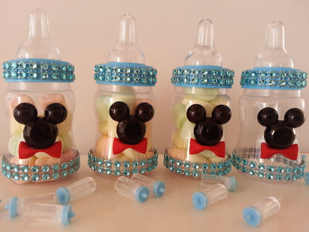 12 Mickey Mouse Fillable Bottles Baby Shower Boy Favors