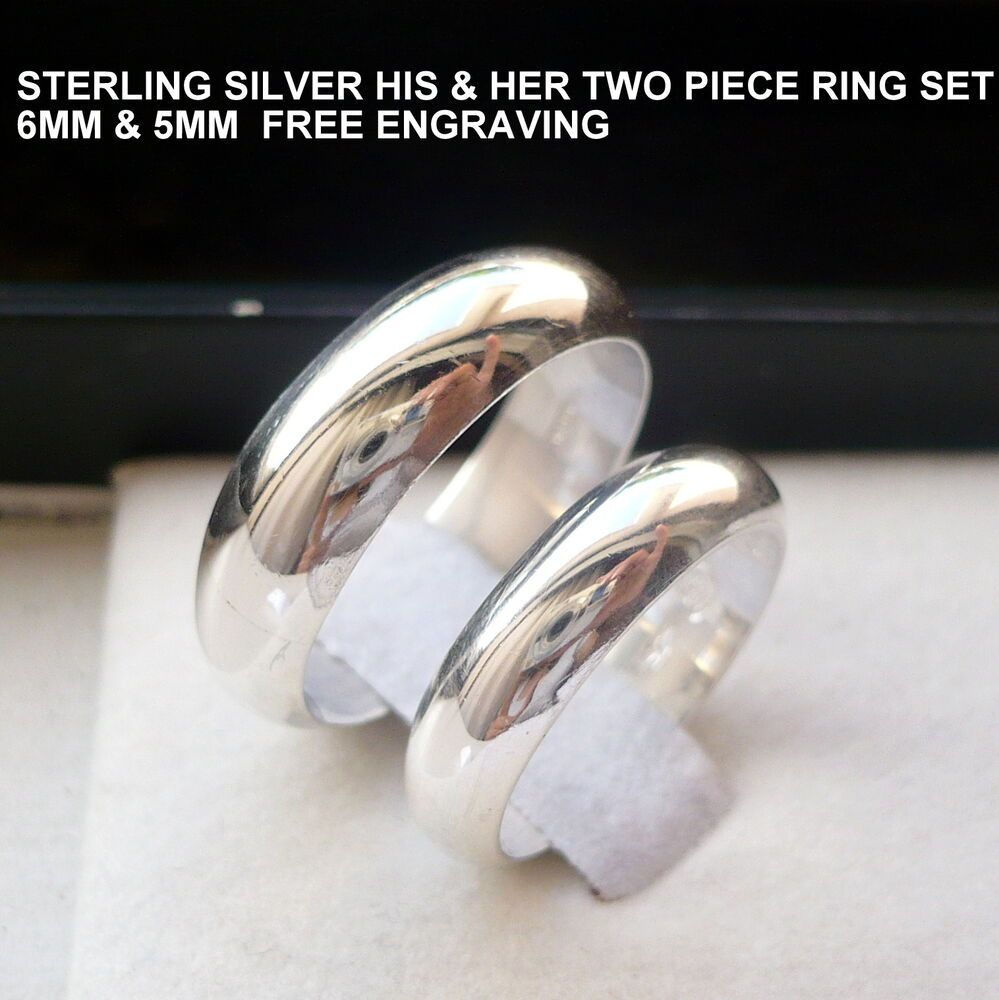 925 sterling silver his and her wedding band set ebay for Wedding ring sets for her