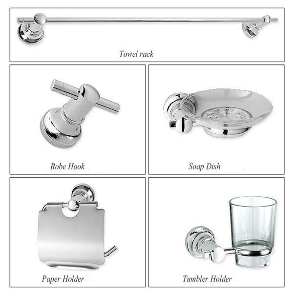 New wall mounted silver chrome plated 5 pcs bathroom for Silver bathroom accessories set