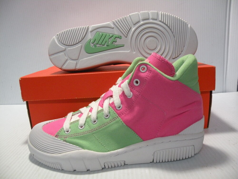 NIKE Outbreak Canvas High Shoes 318635-611 Size 7.5 Pink/ Green/ White