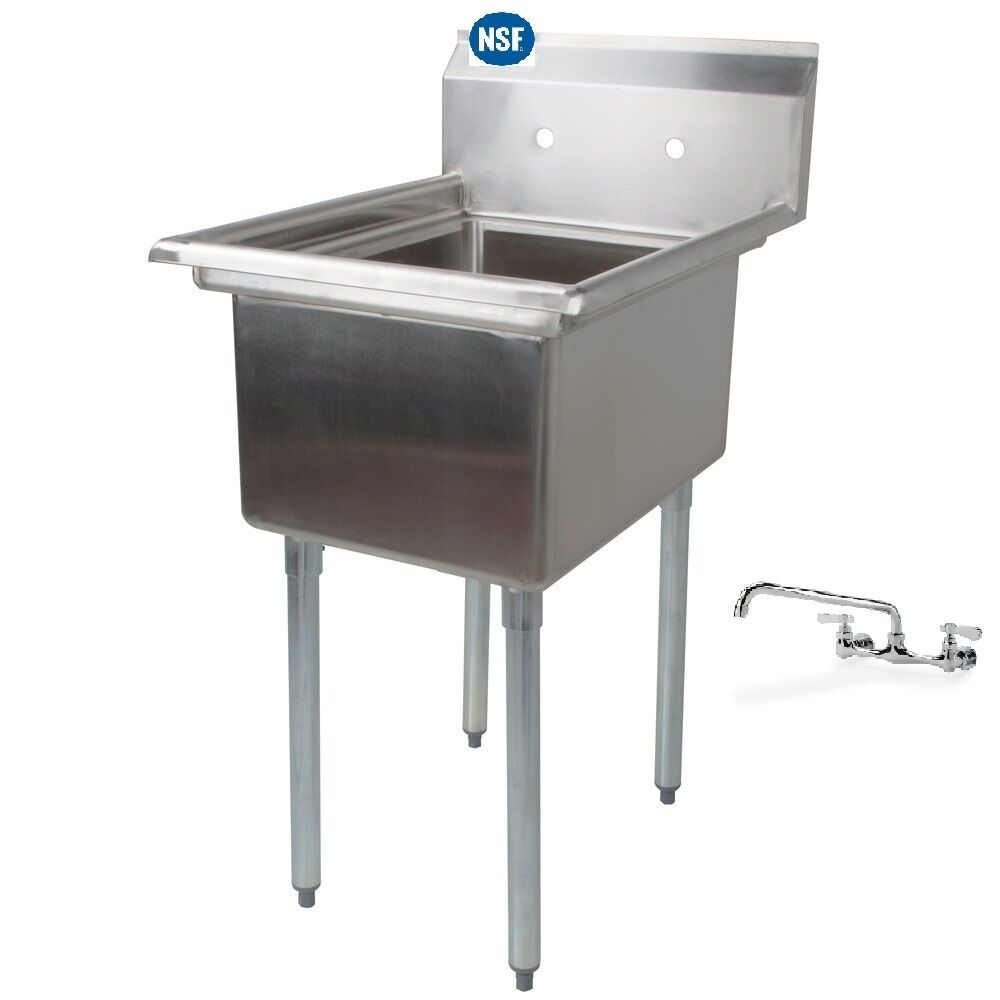 Mop Sink Stainless Steel : Stainless Steel One Compartment Prep Mop Sink 22 x 20 with Faucet ...