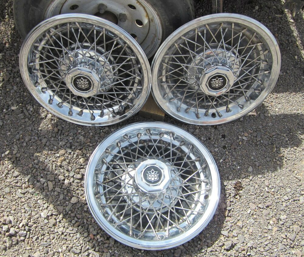 3 Never Used 14 Quot Cadillac Wire Spoke Hubcaps 1980 S Ebay